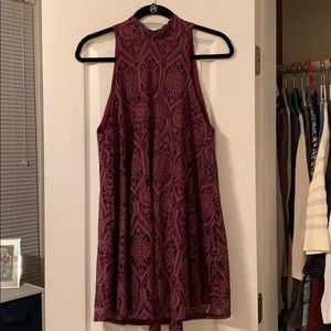 High neck purple semi formal dress